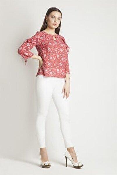 Kadın Beyaz Yandan Fermuarlı Pantolon