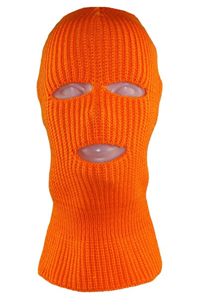 zirve şapka Kışlık Unisex 3 Gözlü Kar Maskesi Sade Turuncu
