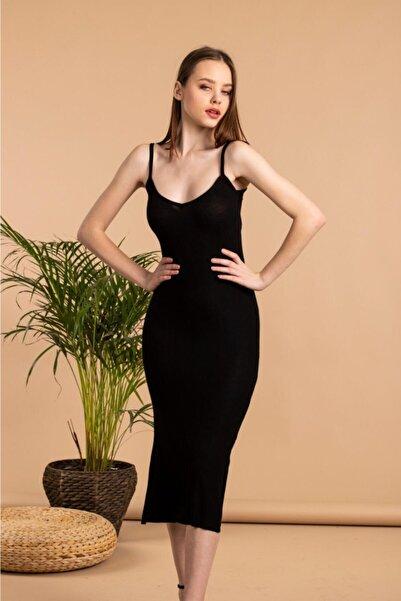 The Base Kadın Siyah Yırtmaç Detaylı V Yaka Ip Askılı Kalem Elbise