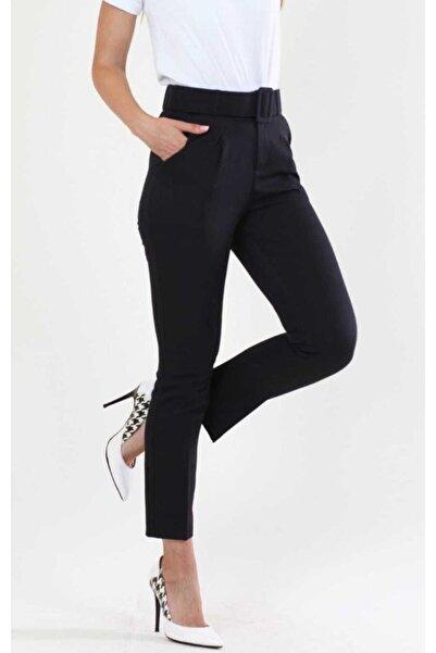 Feyza Kadın Siyah Kemerli Kumaş Pantolon