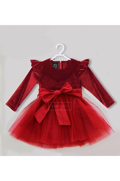 SUMEYYE'S Kız Çocuk Kırmızı Abiye Kadife Elbise