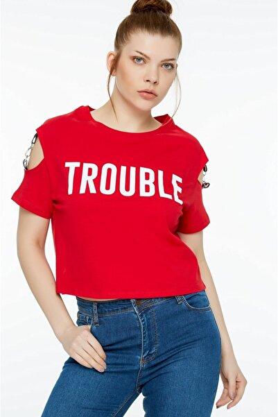 Fulla Moda Kadın Kırmızı  Baskılı T-Shirt
