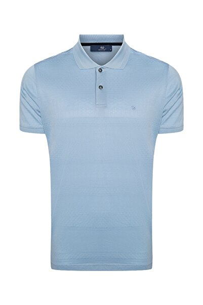 Bisse Erkek Mavi Desenli Regular Fit Polo Yaka T-shirt