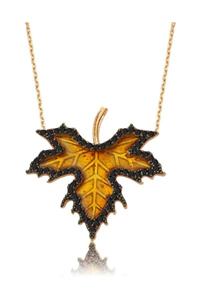 Chavin Kadın Altın Yeşil Mineli Siyah Çınar Yaprağı Gümüş Kolye
