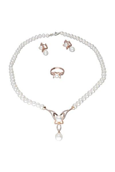 Chavin Kadın Beyaz Pembe İnci Gümüş Kolye Küpe Yüzük Takım Set Ds44