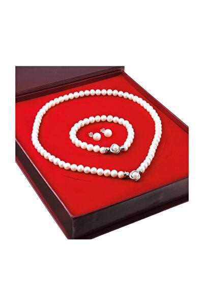 Chavin Kadın Beyaz İnci Küçük Broş Gümüş Kolye Bileklik Küpe Takımı Set ds48