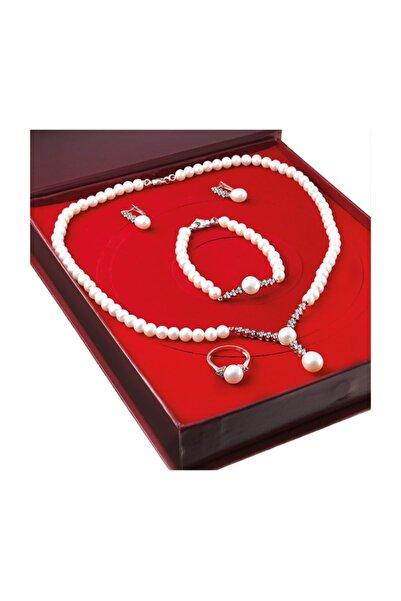 Chavin Kadın Beyaz İnci Pembe Gümüş Kolye Küpe Bileklik Yüzük Takım Set Ds43