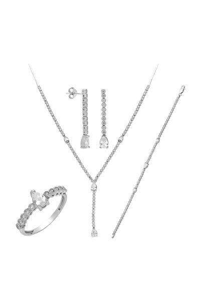 Chavin Kadın Beyaz Su Yolu Gümüş Kolye Küpe Bileklik Yüzük Set Dz33
