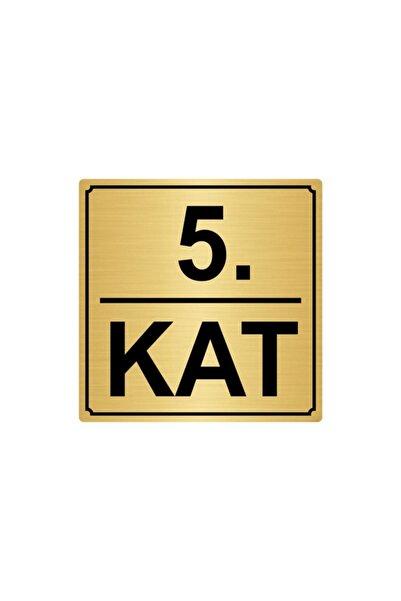 Artı 5.kat Metal Yönlendirme Levhası 20cmx20cm Altın Renk