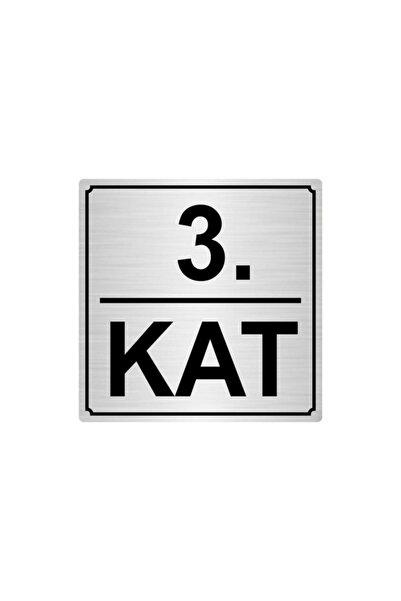 Artı 3.kat Metal Yönlendirme Levhası 20cmx20cm Gümüş Renk