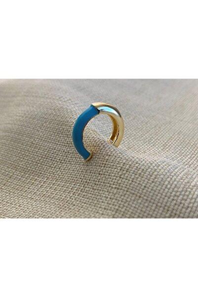 Markiz Takı Mavi Gold Kıkırdak Küpe
