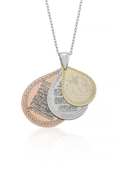 G��müş Pazarım 3'lü Dua 925 Ayar Gümüş Kolye( Allah, Nazar Duası, Ayet El Kürsi) Gpbk021