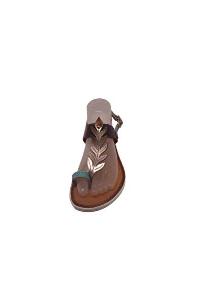 Flower Tek Band Ön Yaprak Bandlı Parmak Arası Sandalet Deri Bayan Ayakkabı