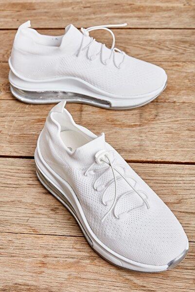 Bambi Beyaz/ Gümüş Kadın Sneaker L0816171082