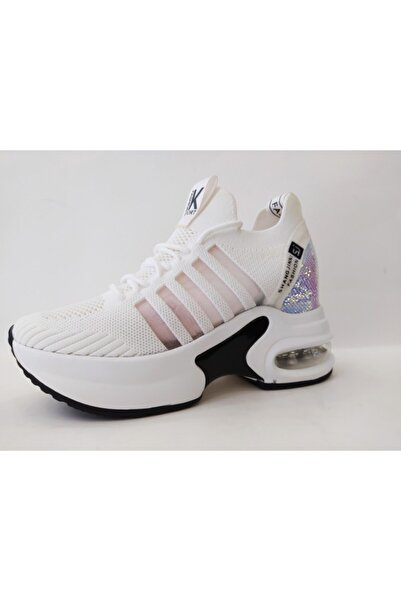 Guja 20y308-7 Kadın Gizli Topuk Yüksek Taban Sneakersspor Ayakkabı-beyaz