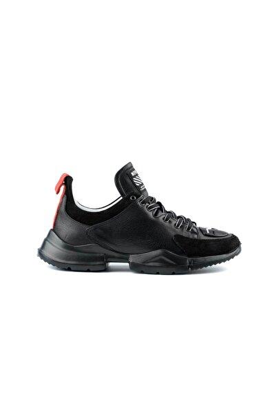 MARCOMEN Süet Detaylı Siyah Deri Sneaker Ayakkabı