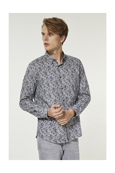 Avva Erkek Mor Baskılı Alttan Britli Yaka Slim Fit Gömlek A92y2052