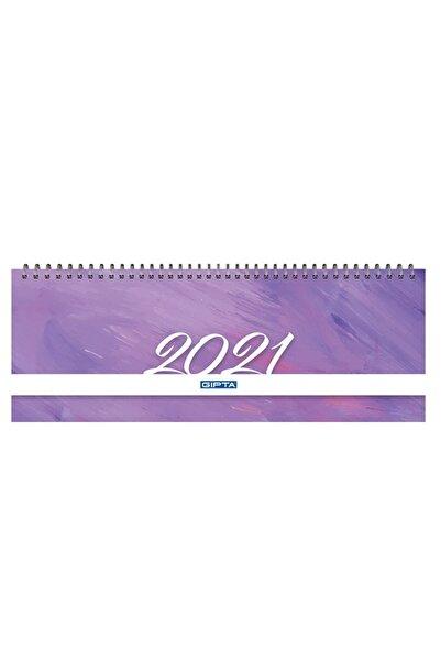 Gıpta Brite 2021 Haftalık Spiralli Masa Takvimi 12x33 Cm (504-btk) Mor