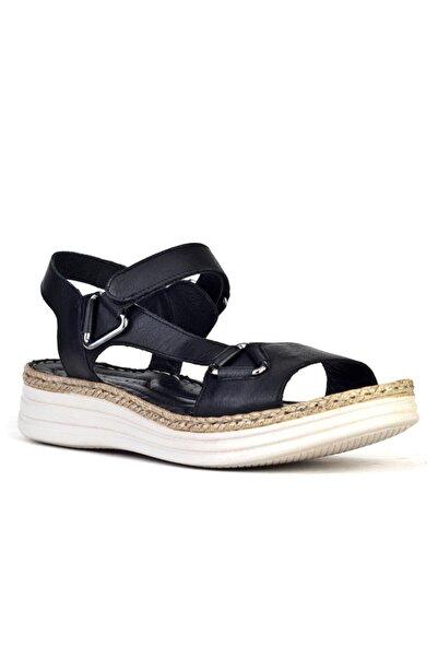 Cabani Metal Aksesuarlı Cırt Bantlı Kadın Sandalet Siyah Deri