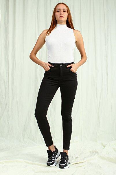 Collezione Siyah Yanı Gümüş Metal Detaylı Kadın Skinny Jean Pantolon