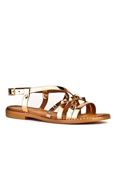 Cabani Taş Aksesuarlı Capraz Bağ Tokalı - Kadın Sandalet Pembe Deri