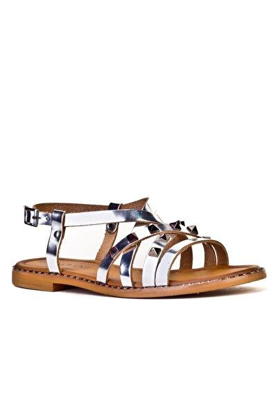 Cabani Taş Aksesuarlı Capraz Bağ Tokalı - Kadın Sandalet Gümüş Deri