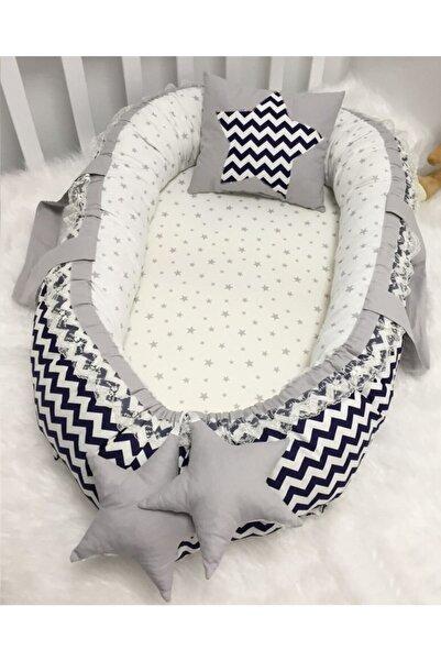 modastra Baby Nest Lacivert ve Gri Kombin Tasarım Babynest Bebek Yuvası