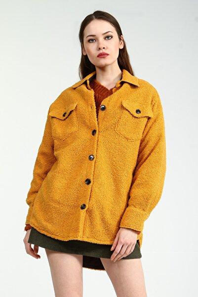 Collezione Hardal Gömlek Yaka Düğmeli Ön Cepli Kadın Peluş Ceket