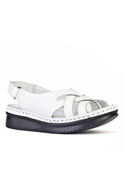 Cabani Çapraz Bağ Örgü Detaylı Tokalı Kadın Sandalet Beyaz Deri