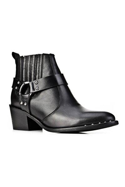 Cabani 6 Cm Topuklu Toka Aksesuarlı Covboy (Western) Stil Fermuarlı - Kadın Bot Siyah Deri