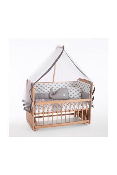 Heyner Ahşap Beşik Anne Yanı Beşik Sallanır Beşik Organik 60x120 + Gri Balina Uyku Seti + Yatak