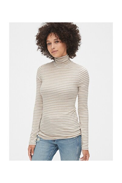 GAP Çizgili Boğazlı Uzun Kollu T-shirt