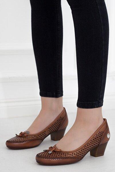 Mammamia Taba Fiyonk Hakiki Deri Topuklu Kadın Günlük Ayakkabı • A202ydyl0100