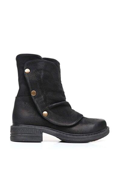 BUENO Shoes Fermuarlı Hakiki Deri Kadın Düz Bot 9m1102
