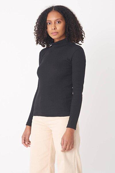 Addax Kadın Siyah Yarım Balıkçı Yaka Bluz B1008 - S9 ADX-0000016244