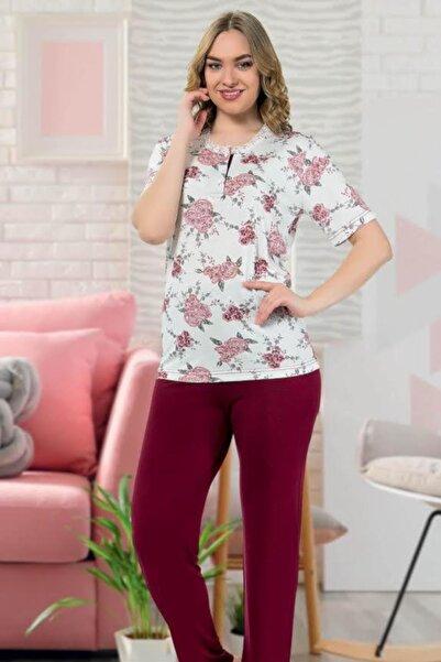 Cicimod 1'li Paket Manolya 7253 Kısa Kol Viskon Üç Düğmeli Kadın Pijama Takımı