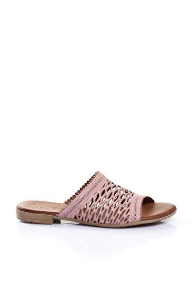 BUENO Shoes Delik Desenli Hakiki Deri Kadın Düz Terlik 9l2708