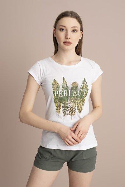 TENA MODA Kadın Beyaz Perfect Tüy Baskılı Tişört