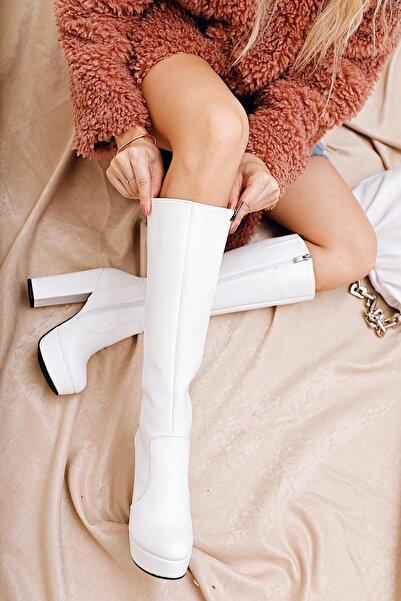Limoya Kaley Beyaz Deri Dizaltı Yüksek Topuklu Çizme