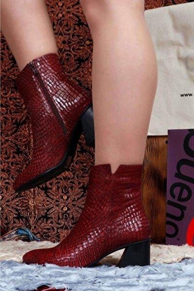 BUENO Shoes Timsah Baskılı Hakiki Deri Kadın Topuklu Bot 9p3000