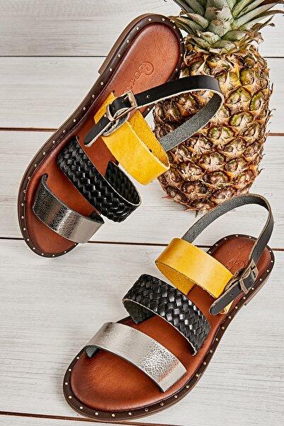 Bambi Platın/siy.ö./sarı Kadın Sandalet L0685082603
