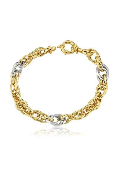 Chavin Hallow Altın Modeli Mikron Kaplama Gümüş Bileklik Ea27