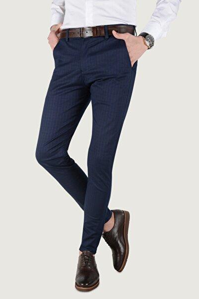 Terapi Men Erkek Çizgi Desenli Keten Pantolon 20k-2200259 Lacivert