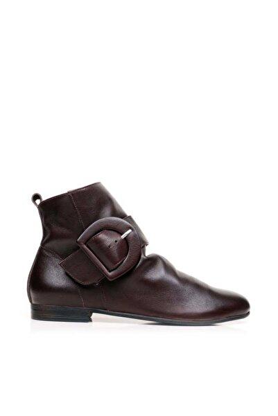 BUENO Shoes Fermuarlı Ve Tokalı Hakiki Deri Kadın Düz Bot 01wp5907