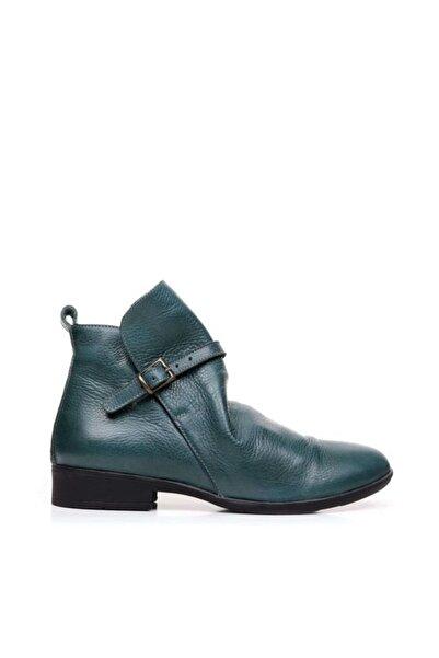 BUENO Shoes Fermuar Ve Kemerli Hakiki Deri Kadın Düz Bot 9p2310