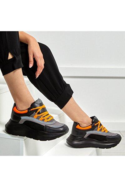 Butigo 19sf-2058 Turuncu Kadın Kalın Taban Sneaker Spor Ayakkabı
