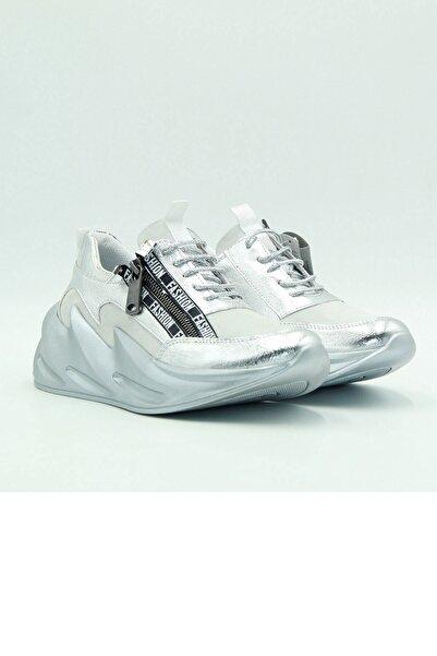 Venüs Yüksek Taban Extralight Hakiki Deri Sneaker Gümüş-beyaz