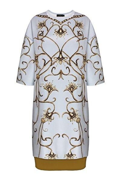 Faberlic Gri Yarım Kollu Monogram Elbise 50 Beden