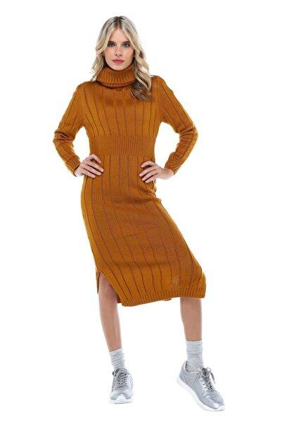 Modkofoni Balıkçı Yaka Saç Örgülü Hardal Triko Elbise