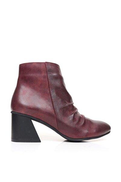 BUENO Shoes Önden Büzgülü Hakiki Deri Kadın Topuklu Bot 9p3005